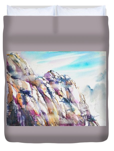 Mountain Awe #1 Duvet Cover by Betty M M Wong