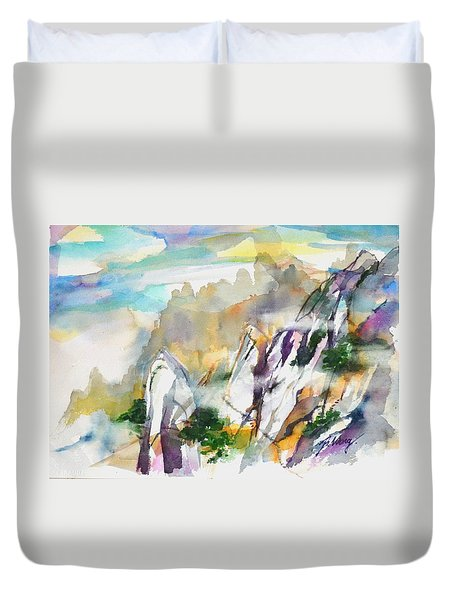Mountain Awe #2 Duvet Cover by Betty M M Wong