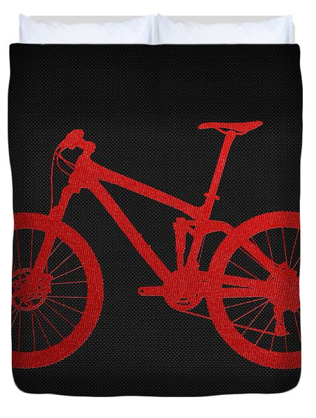 Mountain Bike - Red On Black Duvet Cover by Serge Averbukh