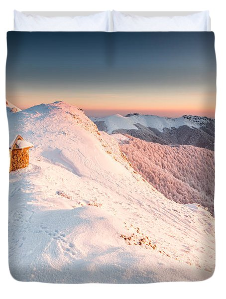 Mountain Chapel Duvet Cover by Evgeni Dinev