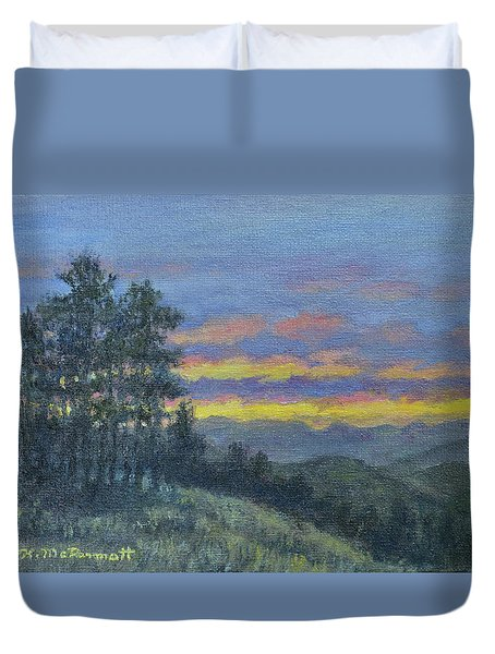 Duvet Cover featuring the painting Mountain Dusk by Kathleen McDermott