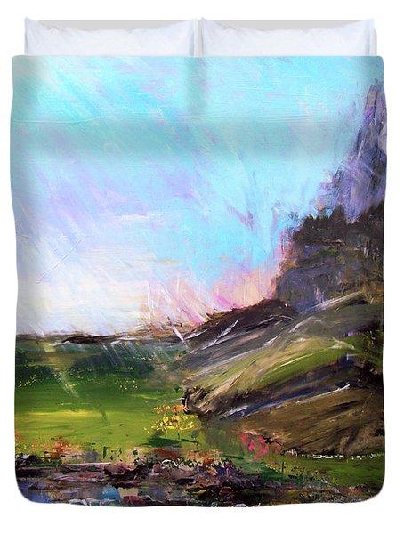 Mountain Fenceline Duvet Cover