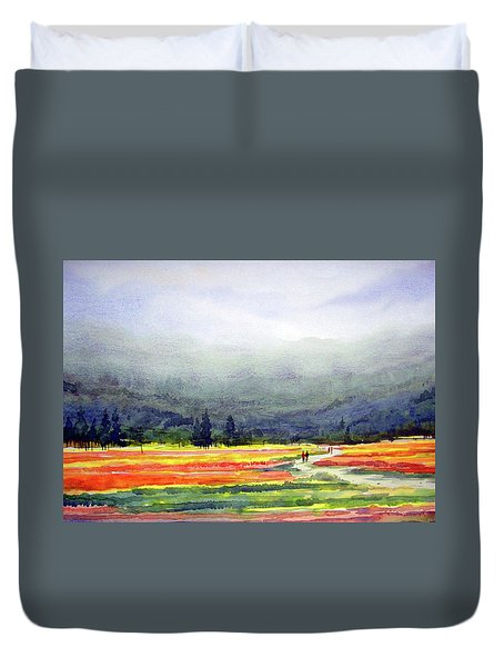 Duvet Cover featuring the painting Mountain Flowers Valley by Samiran Sarkar