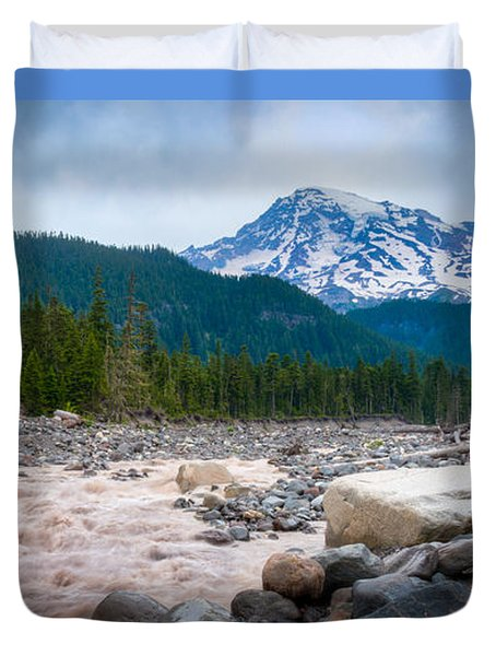 Mountain Glacier River Duvet Cover by Chris McKenna