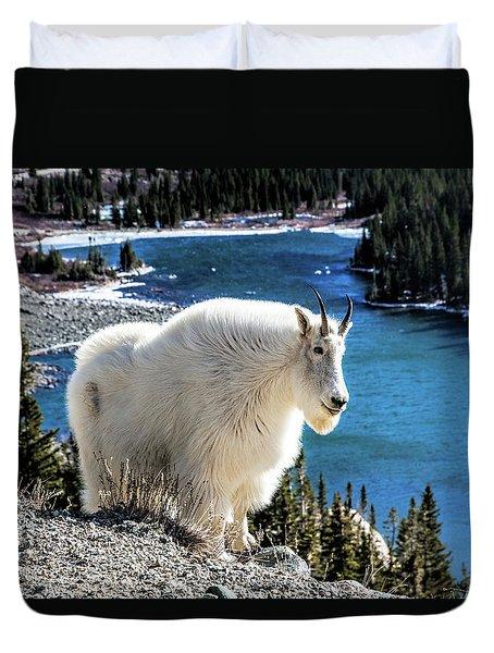 Mountain Goat At Lower Blue Lake Duvet Cover