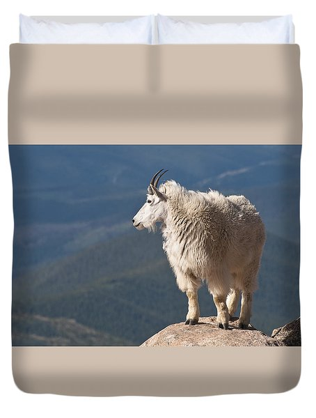 Duvet Cover featuring the photograph Mountain Goat by Gary Lengyel