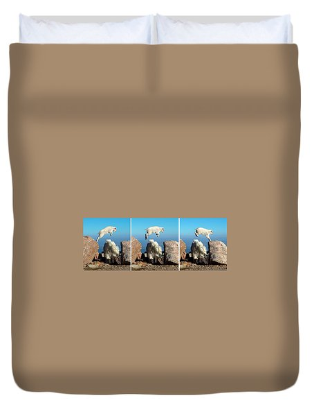 Mountain Goat Leap-frog Triptych Duvet Cover