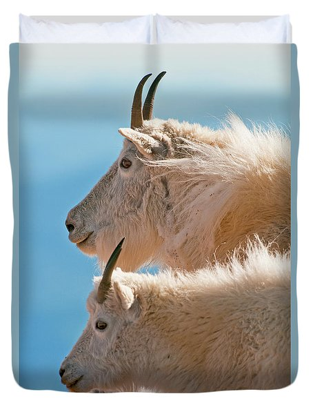 Duvet Cover featuring the photograph Mountain Goats by Gary Lengyel