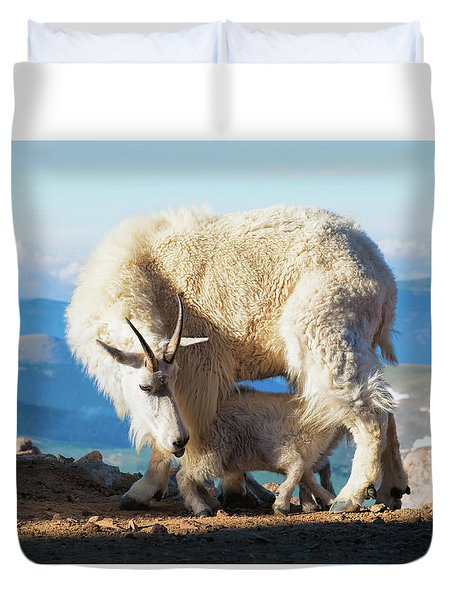Mountain Goats Nanny And Kid Duvet Cover