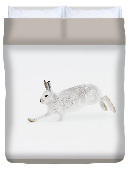 Mountain Hare Running Duvet Cover