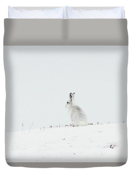 Mountain Hare Sat In Snow Duvet Cover
