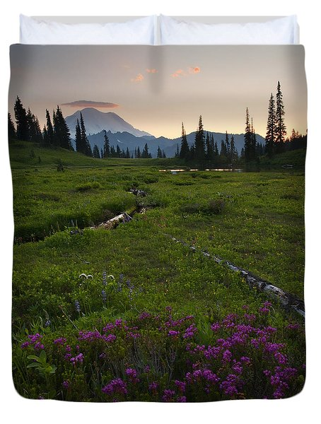 Mountain Heather Sunset Duvet Cover by Mike  Dawson