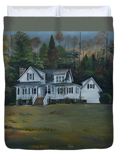 Duvet Cover featuring the painting  Mountain Home At Dusk by Jan Dappen