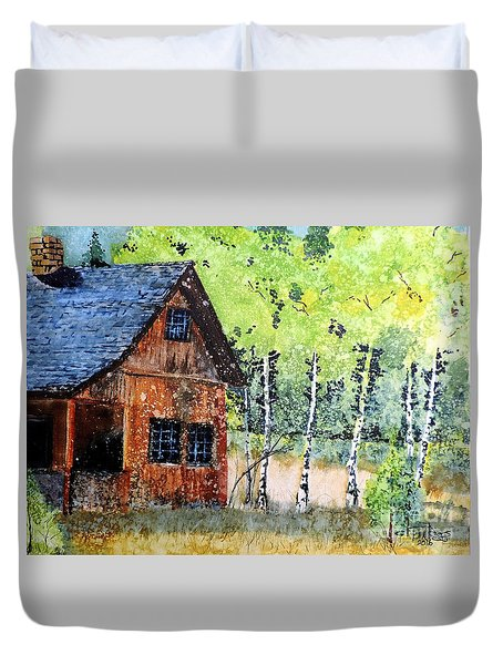 Duvet Cover featuring the painting Mountain Home by Tom Riggs