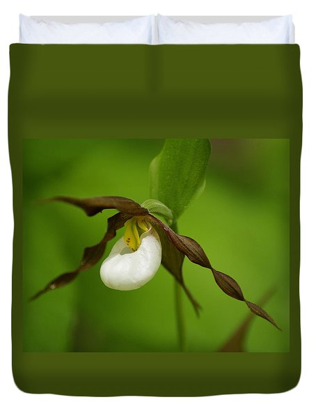 Duvet Cover featuring the photograph Mountain Lady's Slipper by Ben Upham III