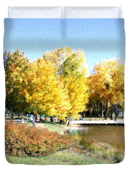 Mountain Lake Autumn Duvet Cover