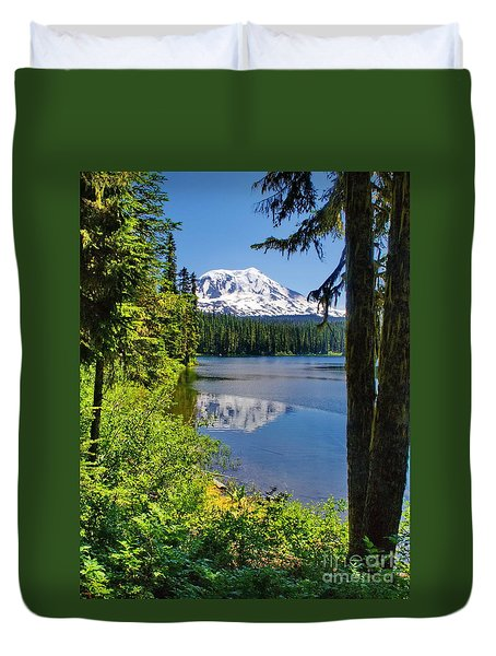 Mountain Lake Reflections Duvet Cover