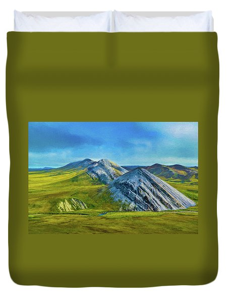 Mountain Landscape Digital Art Duvet Cover
