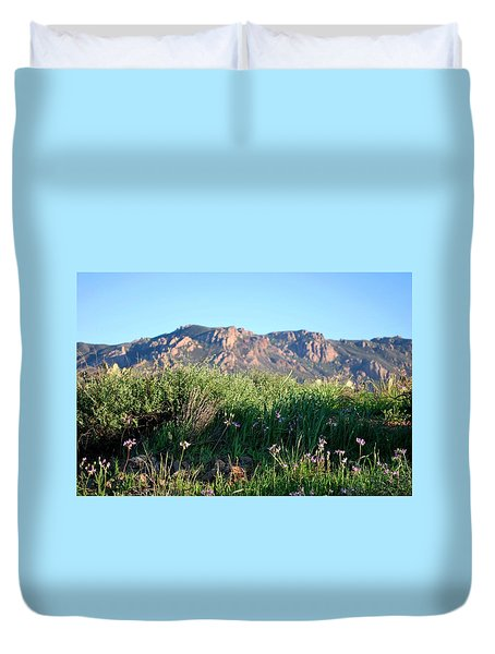 Duvet Cover featuring the photograph Mountain Landscape View - Purple Flowers by Matt Harang