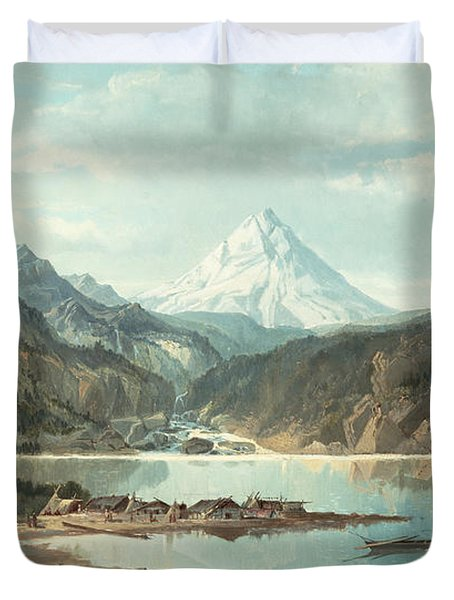 Mountain Landscape With Indians Duvet Cover by John Mix Stanley