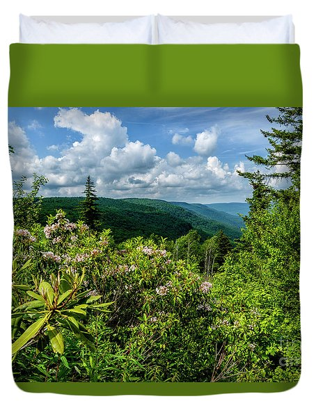 Duvet Cover featuring the photograph Mountain Laurel And Ridges by Thomas R Fletcher
