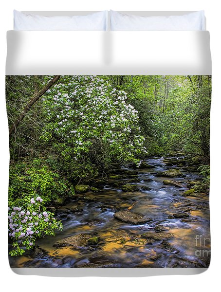 Duvet Cover featuring the photograph Mountain Laurels Light Up Panther Creek by Barbara Bowen