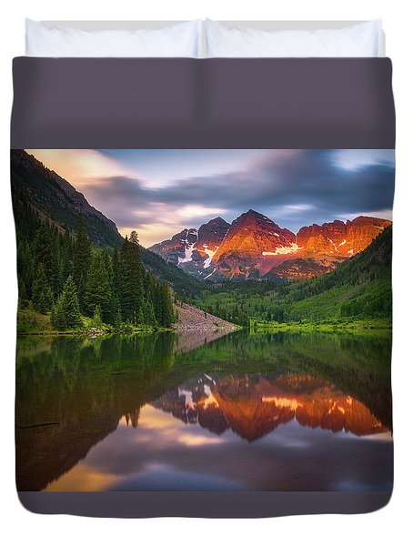 Duvet Cover featuring the photograph Mountain Light Sunrise by Darren White
