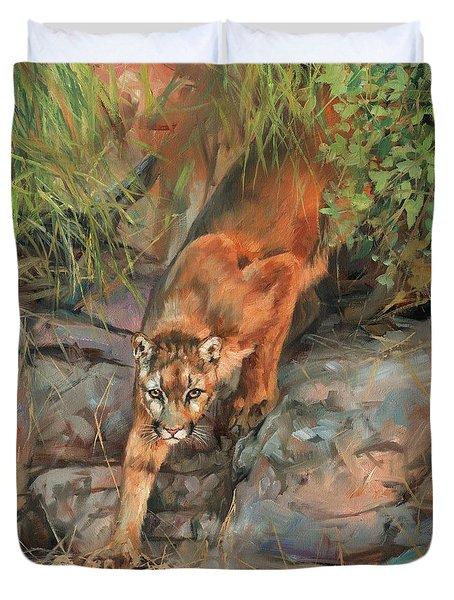Duvet Cover featuring the painting Mountain Lion 2 by David Stribbling