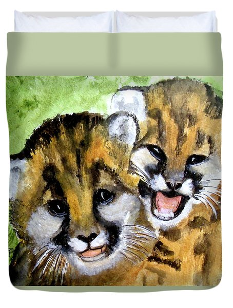 Mountain Lion Cubs Duvet Cover