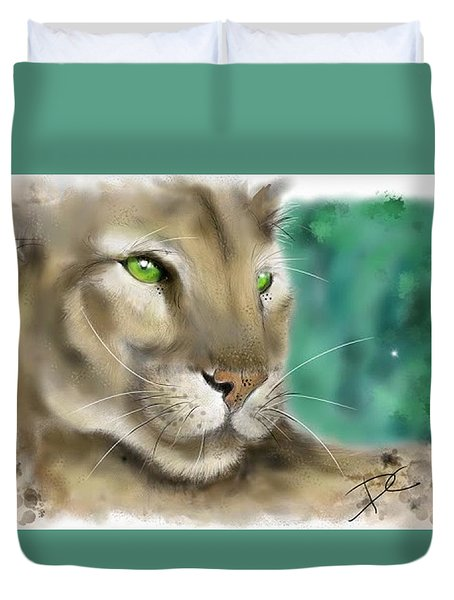 Duvet Cover featuring the digital art Mountain Lion by Darren Cannell