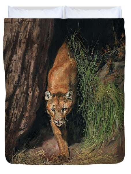 Duvet Cover featuring the painting Mountain Lion Emerging From Shadows by David Stribbling