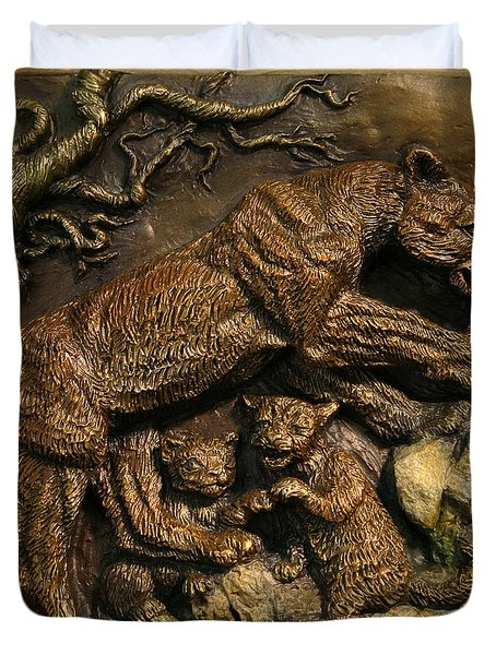 Duvet Cover featuring the sculpture Mountain Lion Mother With Cubs by Dawn Senior-Trask