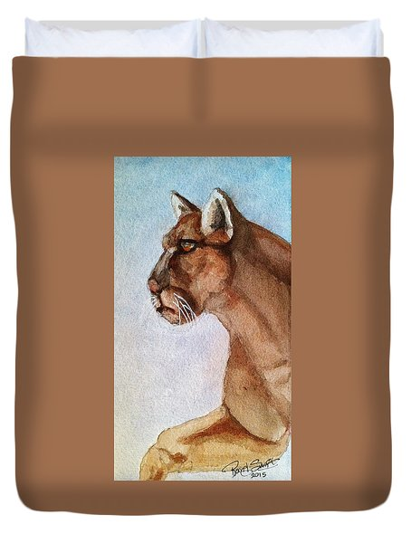 Mountain Lion Duvet Cover by Rand Swift