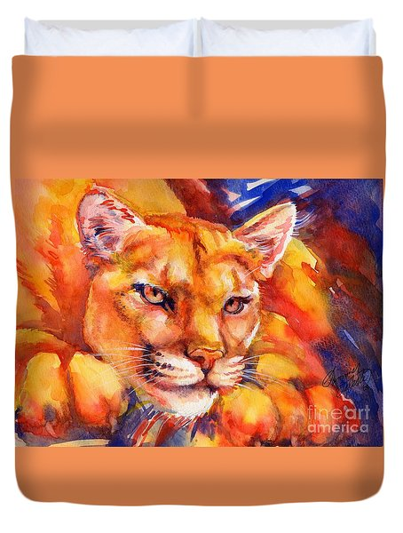 Mountain Lion Red-yellow-blue Duvet Cover by Summer Celeste