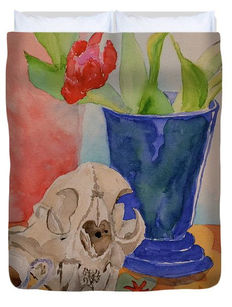 Duvet Cover featuring the painting Mountain Lion Skull Tea And Tulips by Beverley Harper Tinsley