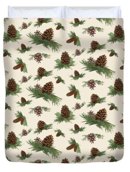 Mountain Lodge Cabin In The Forest - Home Decor Pine Cones Duvet Cover by Audrey Jeanne Roberts