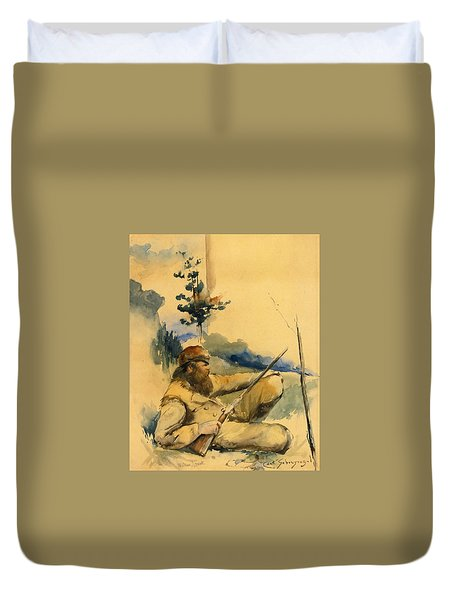 Duvet Cover featuring the drawing Mountain Man by Charles Schreyvogel