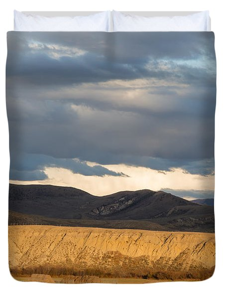 Duvet Cover featuring the photograph Mountain Meadow And Hay Bales In Grand County by Carol M Highsmith