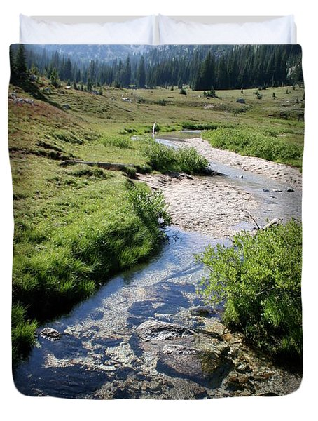 Mountain Meadow And Stream Duvet Cover