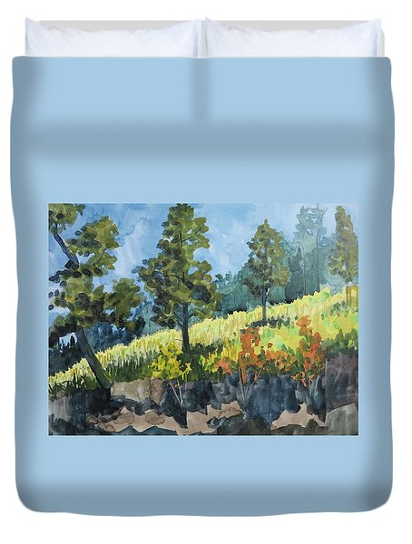 Mountain Meadow Duvet Cover by Bethany Lee