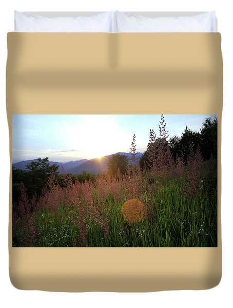 Duvet Cover featuring the photograph Mountain Meadow by Emanuel Tanjala