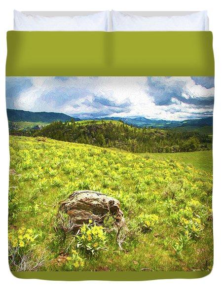 Mountain Meadow Impressionist Digital Art Duvet Cover