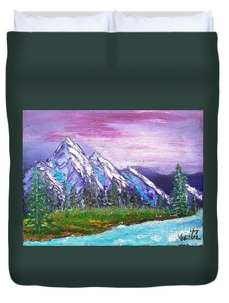 Mountain Meadow Landscape Scene Duvet Cover