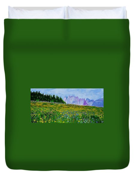 Mountain Meadow Wildflowers Duvet Cover by Mike Caitham