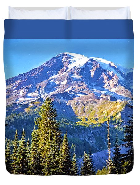 Duvet Cover featuring the photograph Mountain Meets Sky by Anthony Baatz