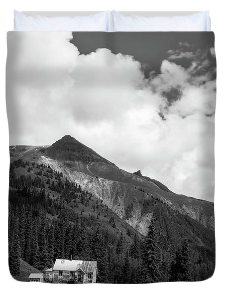 Mountain Mining Home In Black And White Duvet Cover