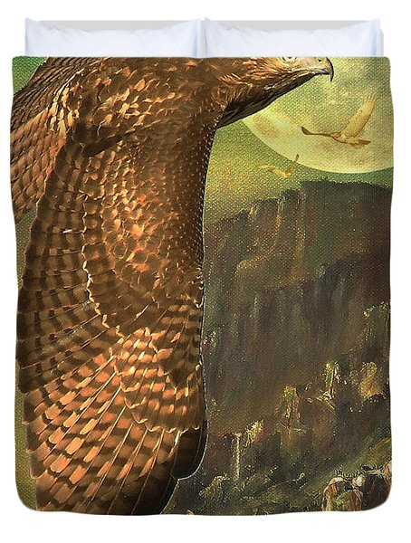 Mountain Of The Hawks Duvet Cover by Wingsdomain Art and Photography