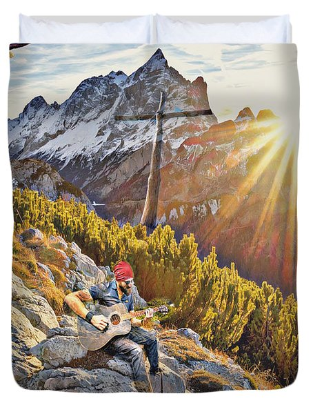 Mountain Of The Lord Duvet Cover