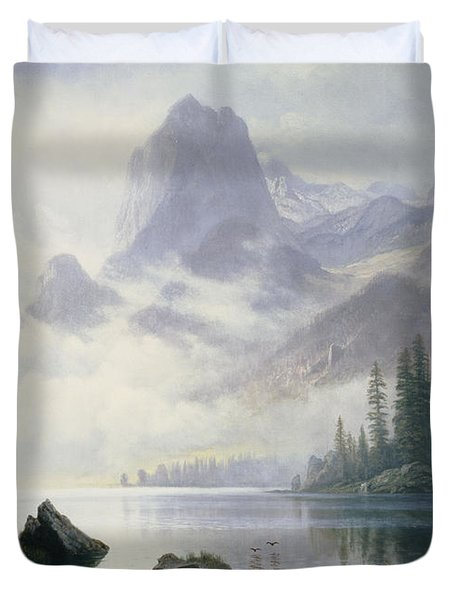 Mountain Out Of The Mist Duvet Cover by Albert Bierstadt