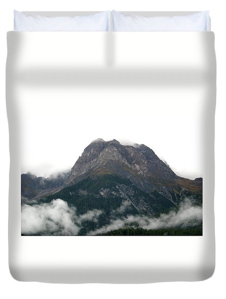 Duvet Cover featuring the photograph Mountain Over Clouds by Emanuel Tanjala